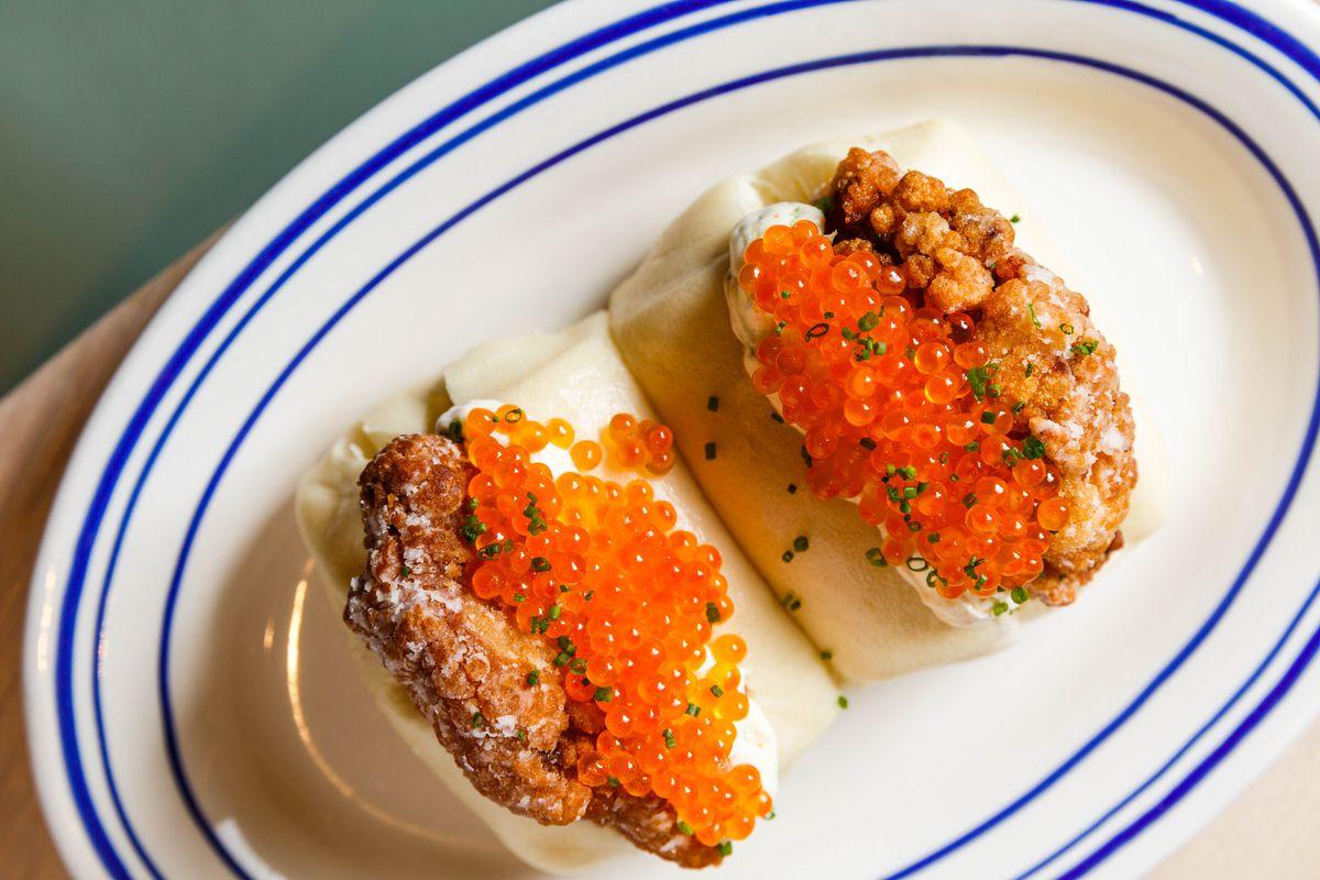 Caviar chicken buns at Noodle Bar