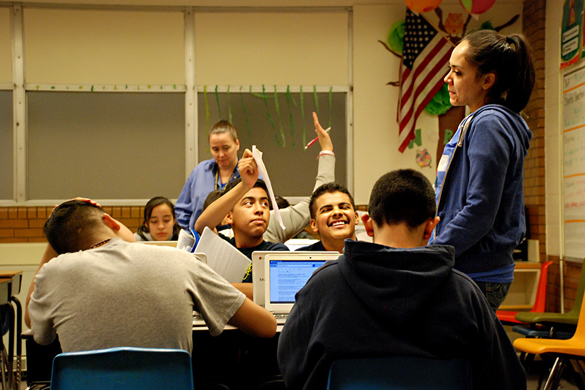Students work on an English assignment at M. Scott Carpenter Middle School in Westminster.