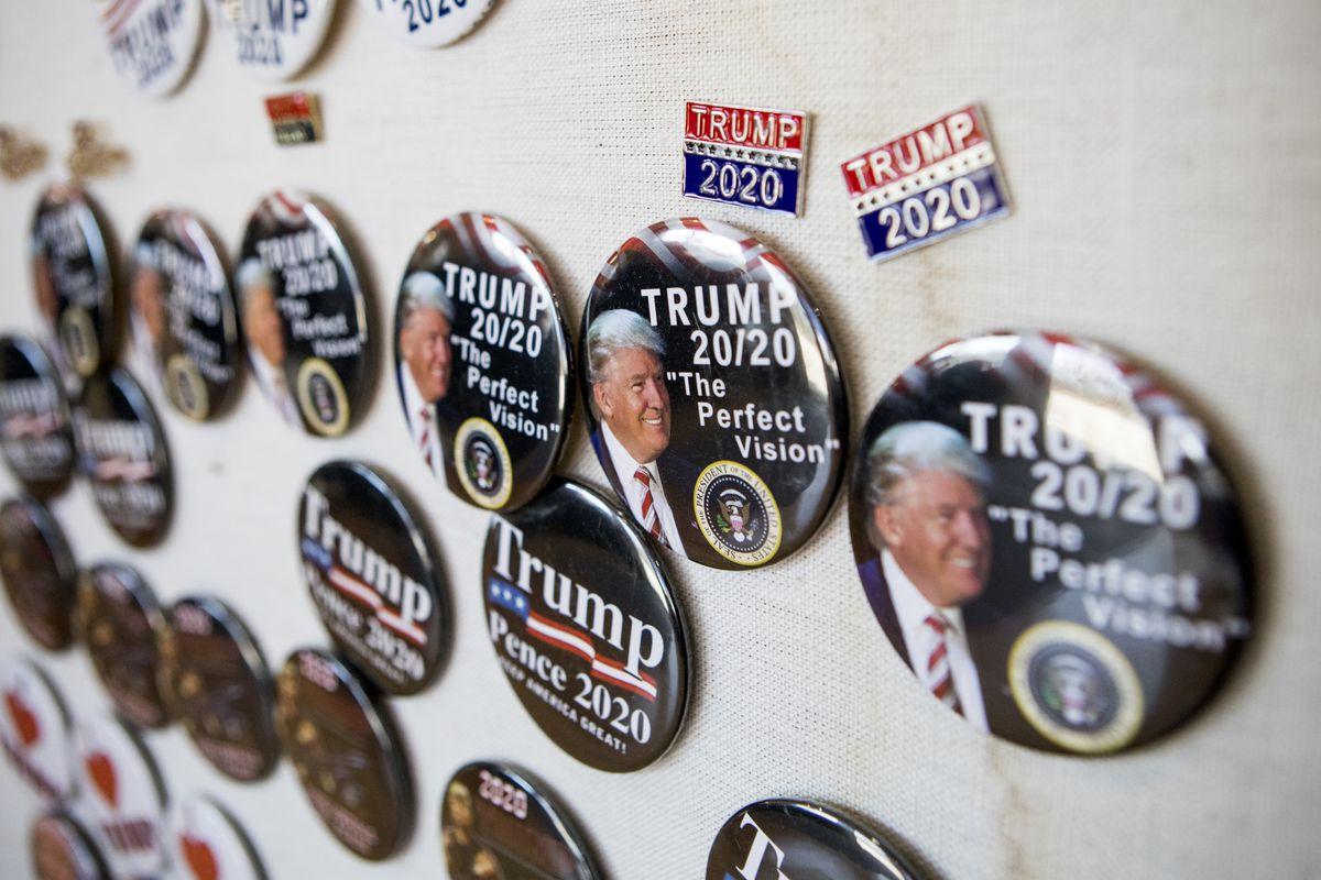 Donald Trump merchandise for sale in Rhode Island entrepreneur Keith Lambert's store in Bellingham, Mass., Saturday, Nov. 9, 2019.