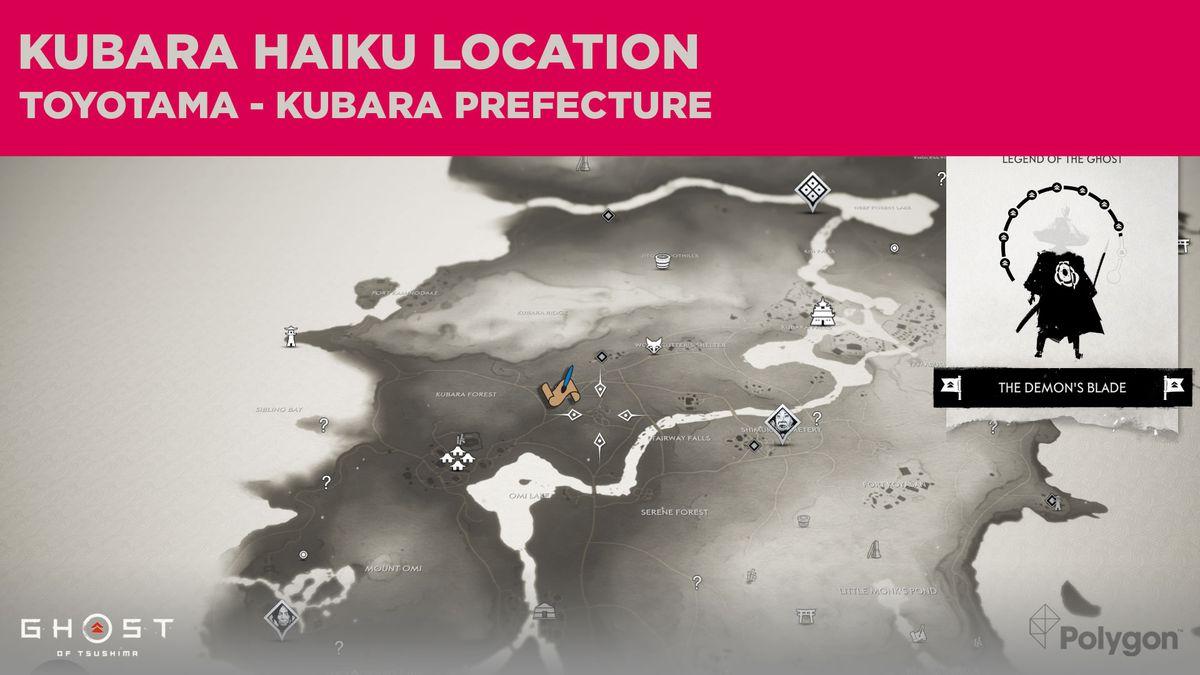 The Kubara haiku location in Ghost of Tsushima