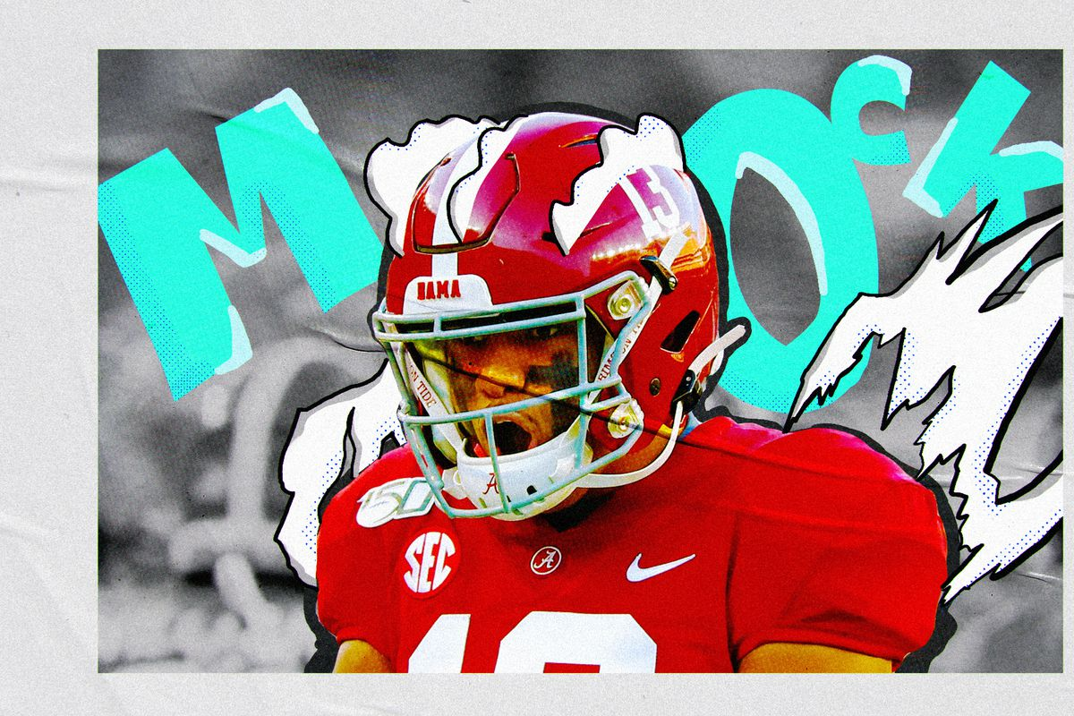 """An illustration of NFL QB prospect Tua Tagovailoa yelling in his Alabama uniform, superimposed on a  gray and black background with """"MOCK"""" in aqua letters"""