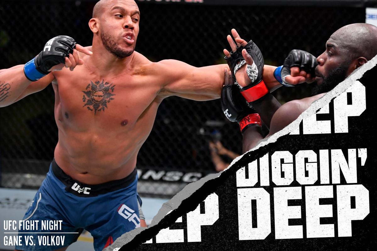 Ciryl Gane fighting Jairzinho Rozenstruik at UFC Vegas 20