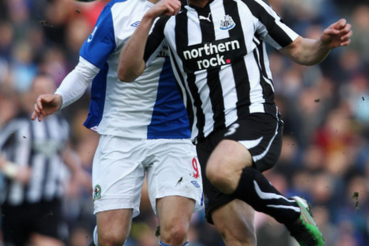 The Getty caption says this is Jonas Gutierrez, but it is clearly Jose Enrique, who wants to ensure that Newcastle are going to be a Premiership team before signing a new contract.  What, do they all look alike to you, Getty?