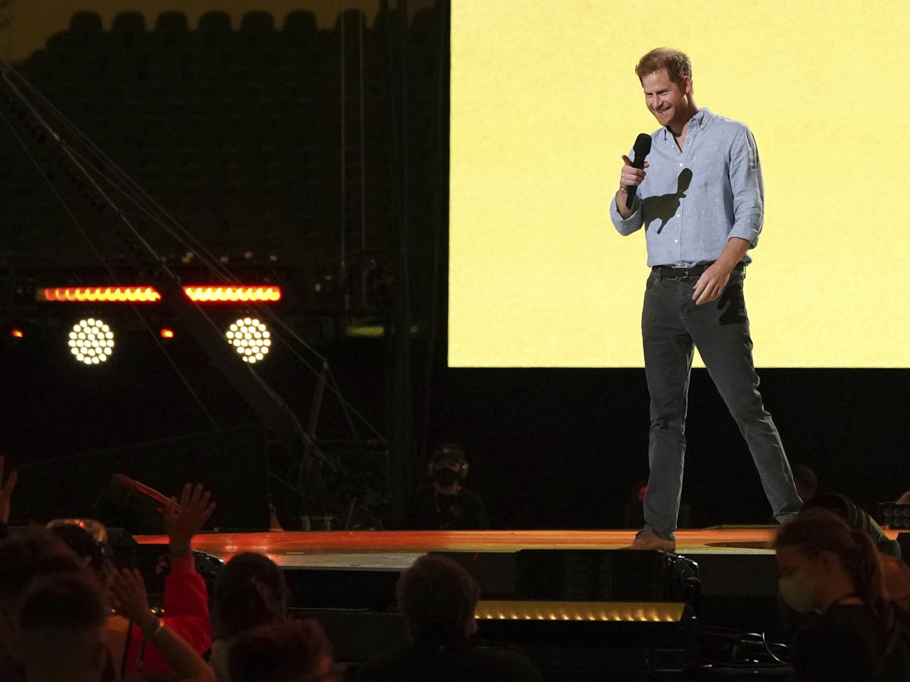 """Prince Harry, Duke of Sussex, speaks at """"Vax Live: The Concert to Reunite the World"""" on Sunday, May 2, 2021, at SoFi Stadium in Inglewood, Calif."""