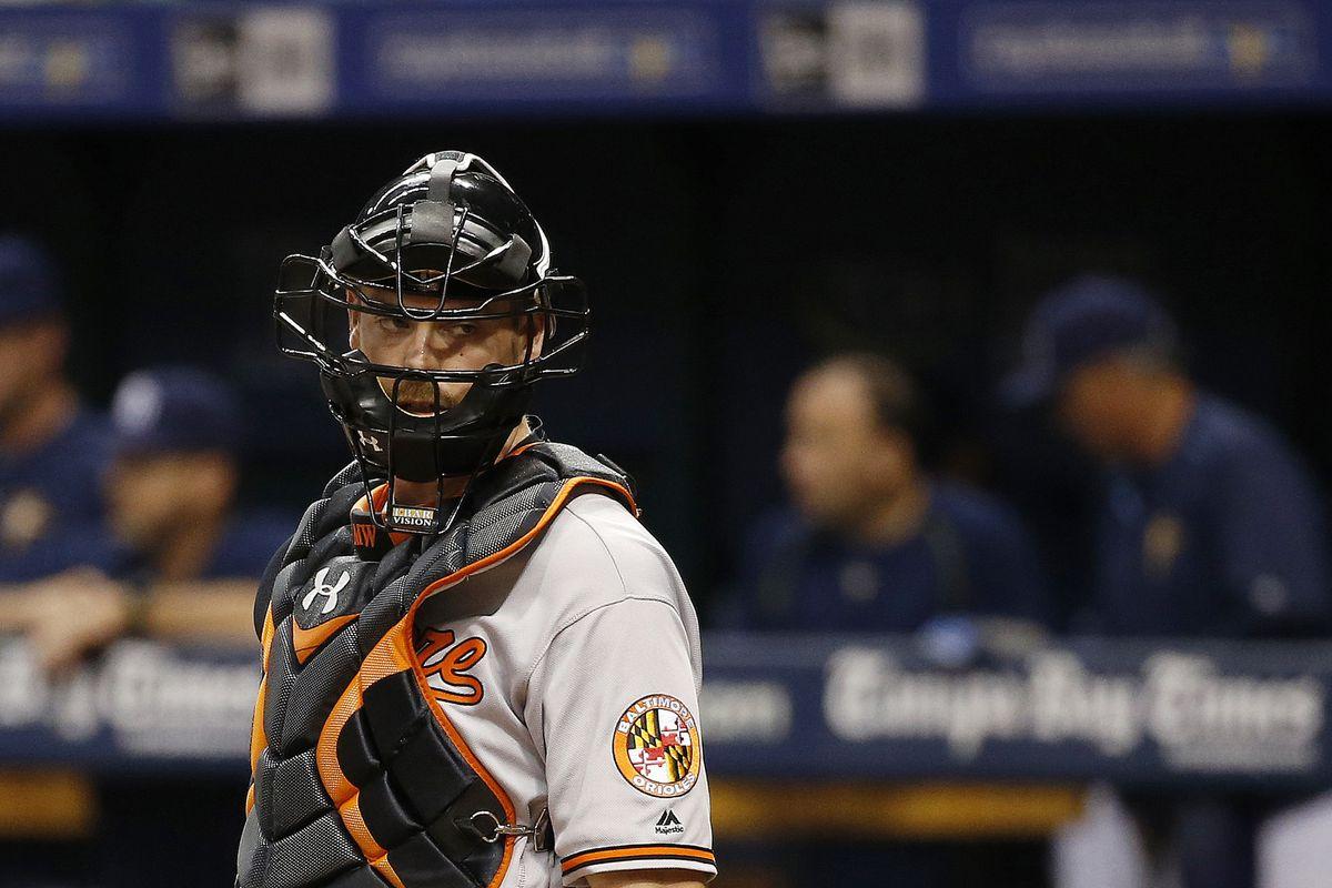 Matt Wieters focused his intense gaze on the Orioles dugout in Tampa Bay.