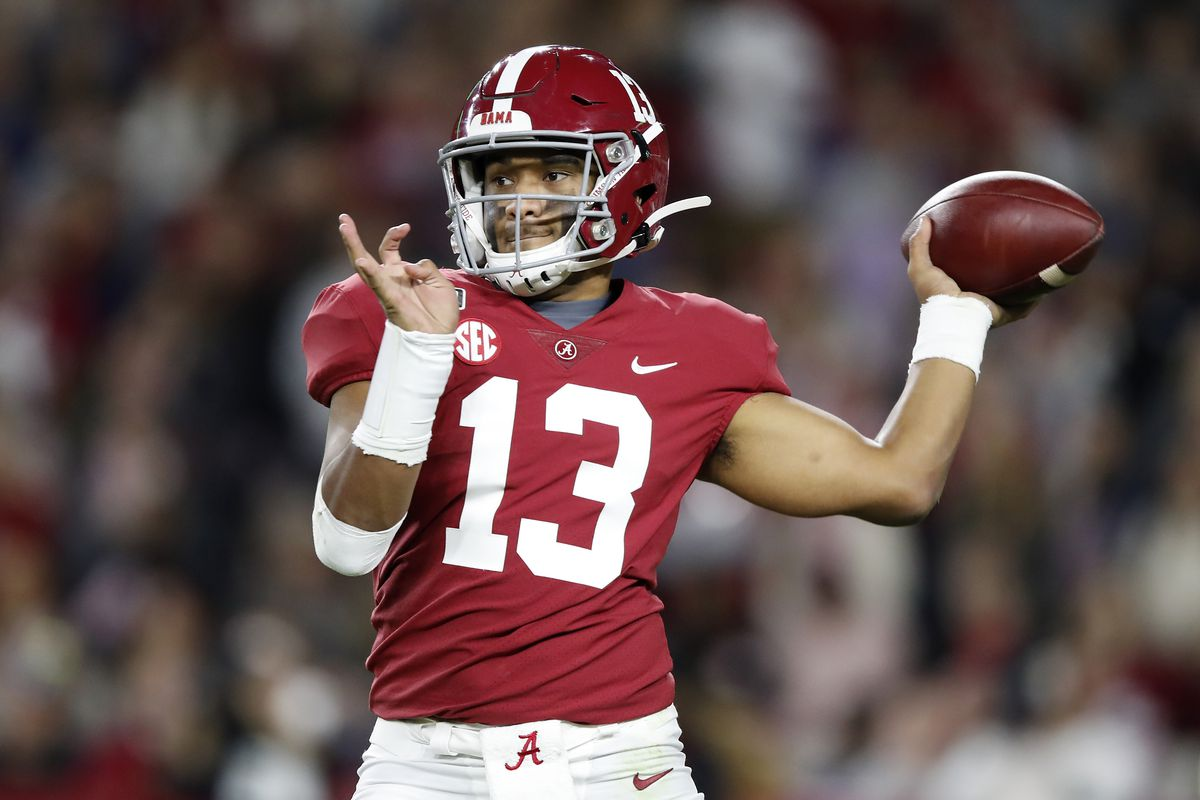 Tua Tagovailoa #13 of the Alabama Crimson Tide throws a pass during the second half against the LSU Tigers in the game at Bryant-Denny Stadium on November 09, 2019 in Tuscaloosa, Alabama.