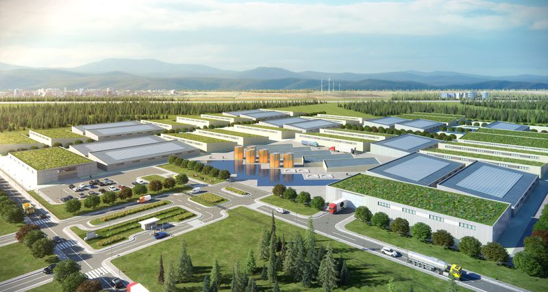 An artist's rendering of a community-level clean energy park, with advanced nuclear, wind, and solar.