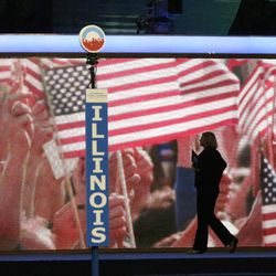 The stage is seen as preparations continue before the start of the Democratic National Convention at the Time Warner Cable Arena in Charlotte, N.C., Monday, Sept. 3, 2012.