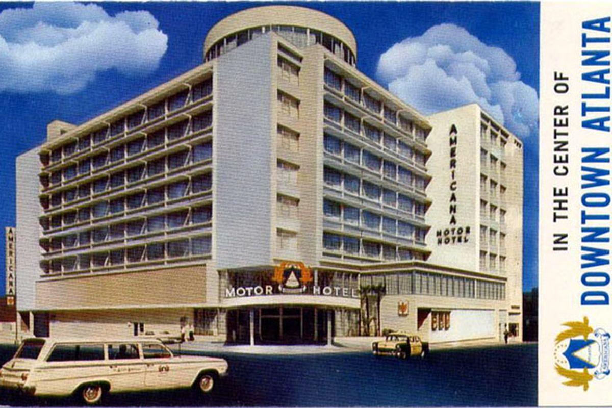 A boxy mid-century motor hotel.
