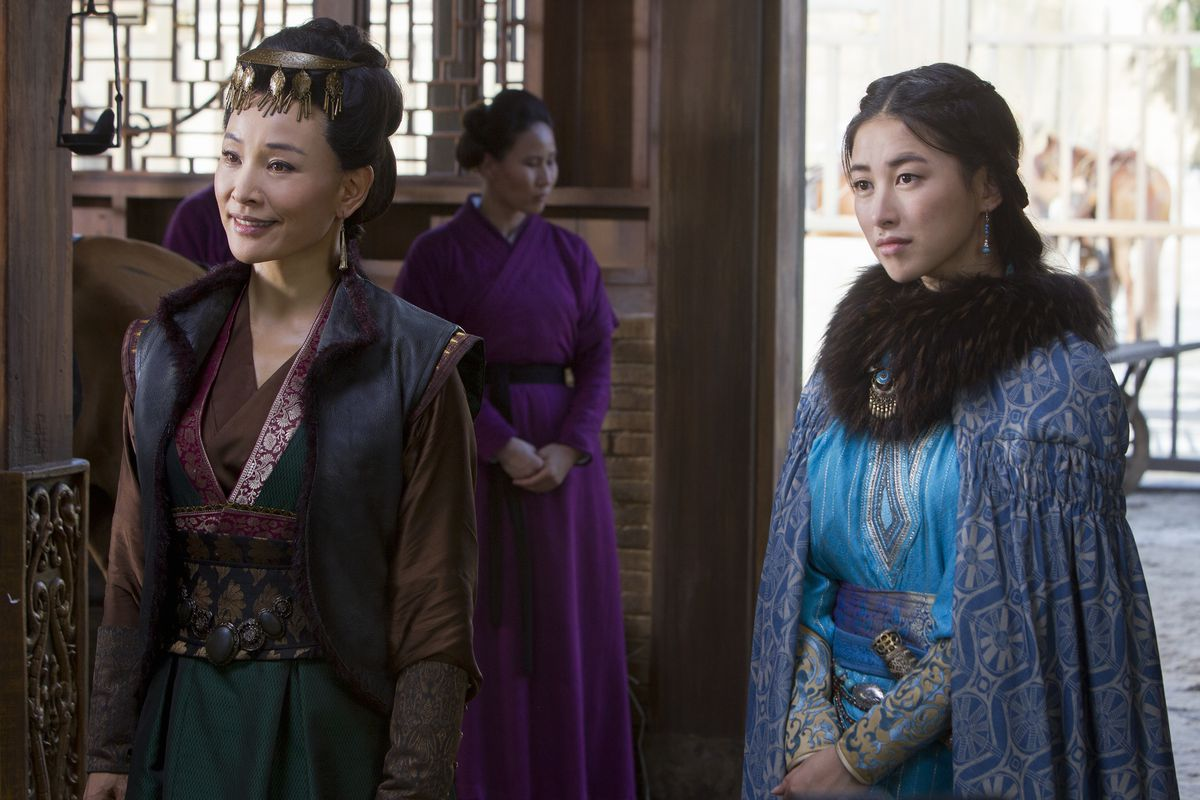 Joan Chen (left) and Zhu Zhu star in Netflix's Marco Polo, a new retelling of the explorer's journeys in China.