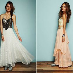 Dress at left is $700, the dress with the peach skirt is $500