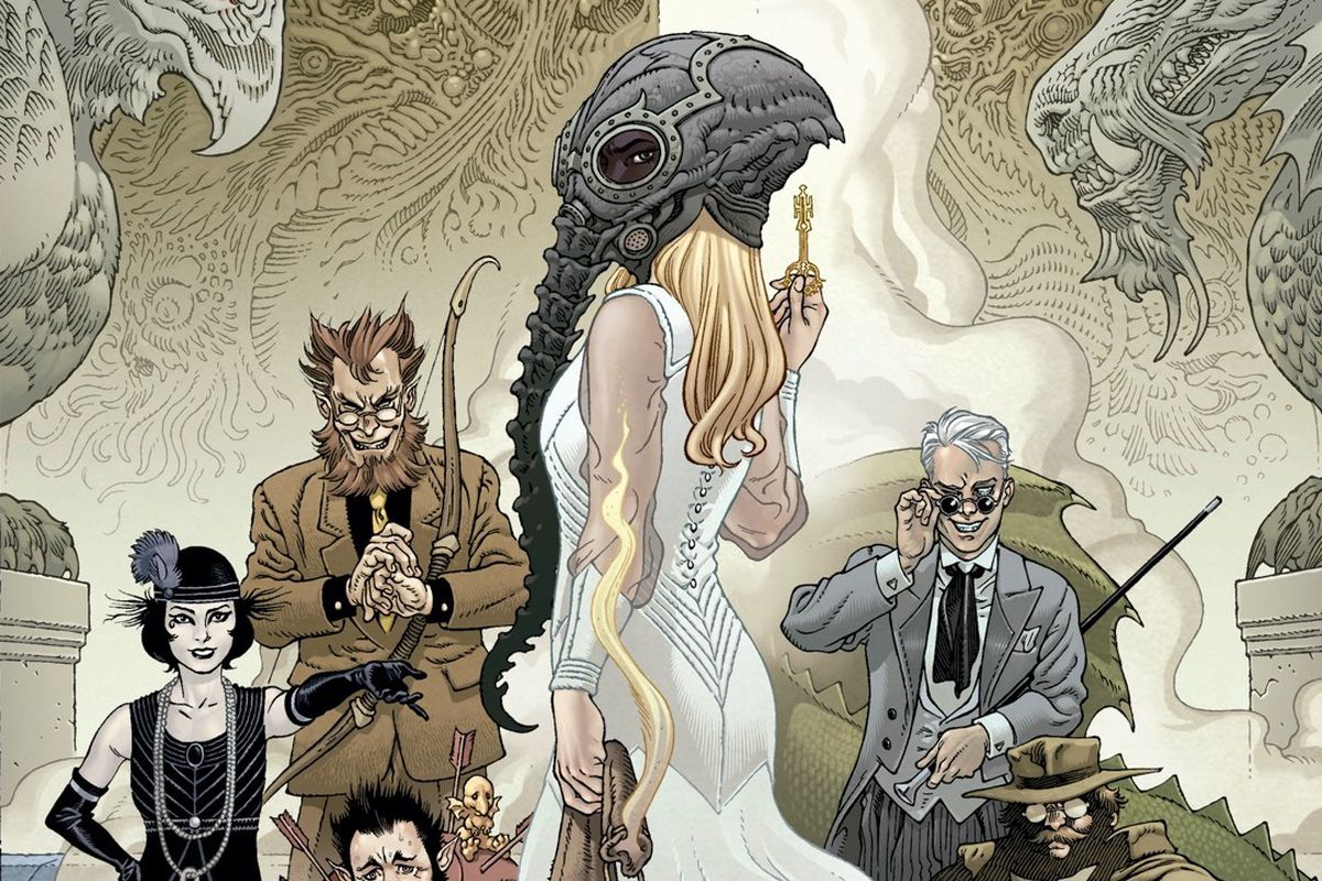 A blonde woman in a white dress stands in the foreground, holding a key and a pouch of sand, and wearing the helm of Dream. Behind her are the sun glasses-wearing Corinthian, spike-haired Cain, and the pale form of Death, dressed in 1920s appropriate dress, on a cover for Locke & Key/Sandman: Hell and Gone, from IDW and DC Comics.