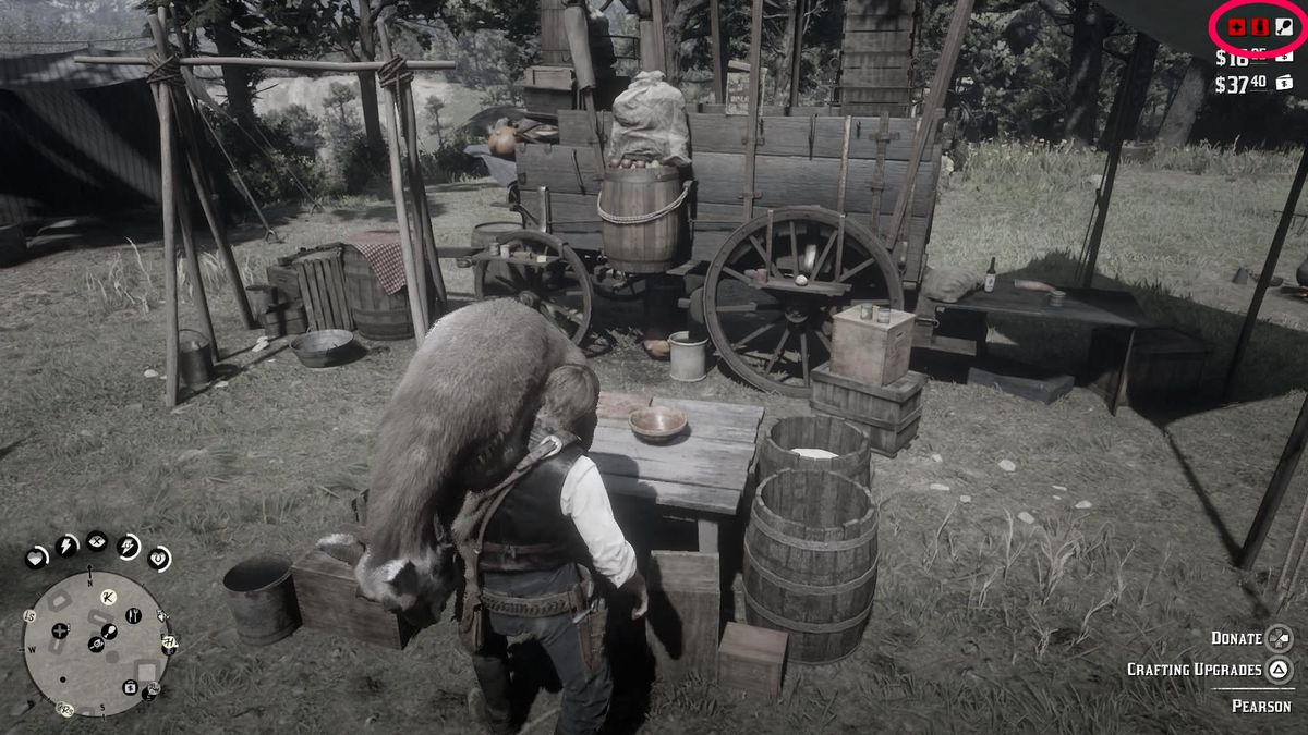 Red Dead Redemption 2 - icons showing camp supply levels