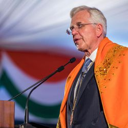 Elder D. Todd Christofferson, a member of the Quorum of Twelve Apostles for The Church of Jesus Christ of Latter-day Saints speaks after receiving the Philosopher Saint Shri Dnyaneshwara World Peace Prize-2017, during an award ceremony at the MIT World Peace university in Pune, Maharashtra, India on August 14, 2017.
