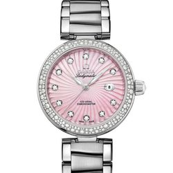 Omega's Ladymatic Co-Axial 34 mm watch ($17,200) can be discovered in the world's largest Tourbillon boutique at the Shops at Crystals. Made with stainless steel, this timepiece features a pink mother-of-pearl colored face dressed with diamonds.