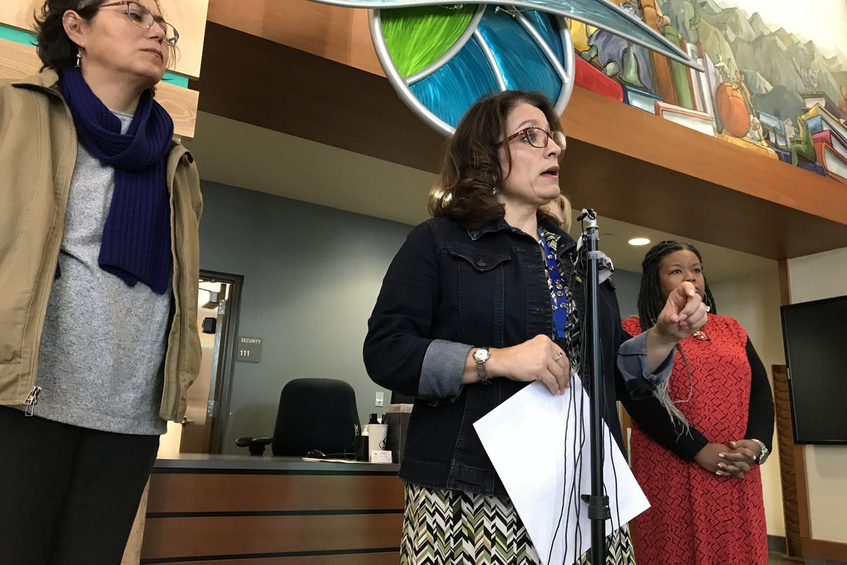 Denver Public Schools Superintendent Susana Cordova speaks at a press conference addressing the email about immigrant teachers.
