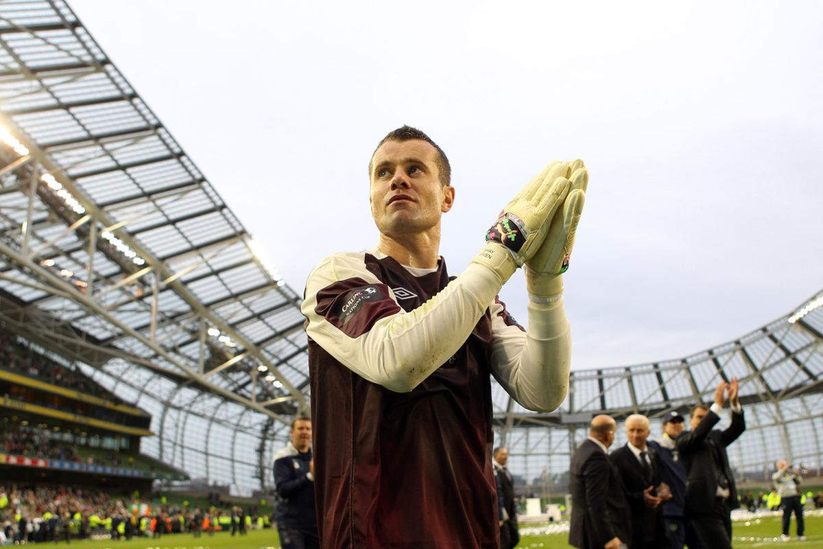 DUBLIN, IRELAND - MAY 29:  Shay Given of Republic of Ireland thanks the support after their win over Scotland to clinch the Four Nations Cup at the Aviva Stadium on May 29, 2011 in Dublin, Ireland.  (Photo by Julian Finney/Getty Images)