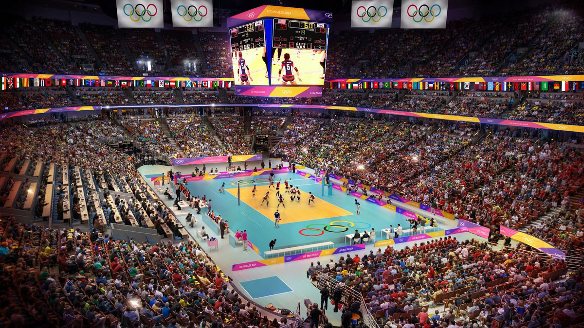 Volleyball in arena
