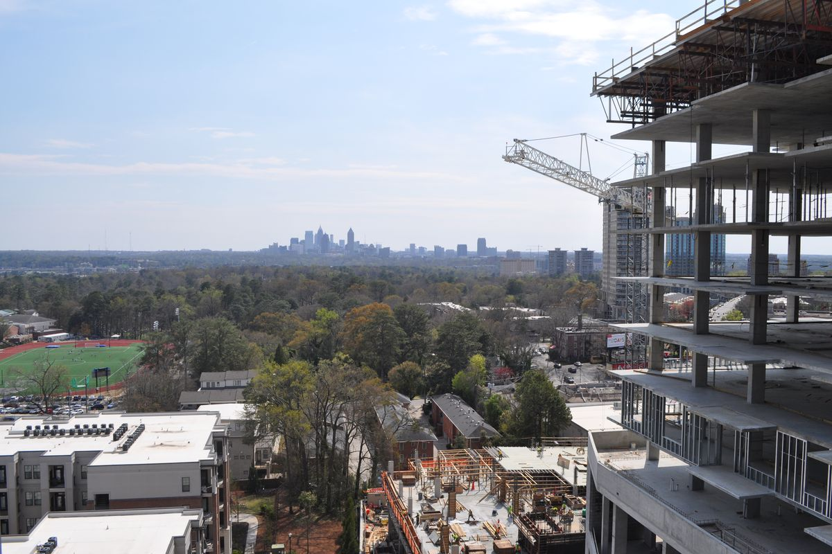 A photo of how some units will offer sweeping views of the Atlanta skyline.