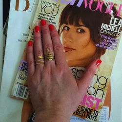 Stayed in and caught up on my February and March fashion mags while painting my nails. I actually usually do my own nails because I feel like changing them so often. I used a bright orange-red from a brand called <b>Julie</b> that I picked up in <b>Rite A