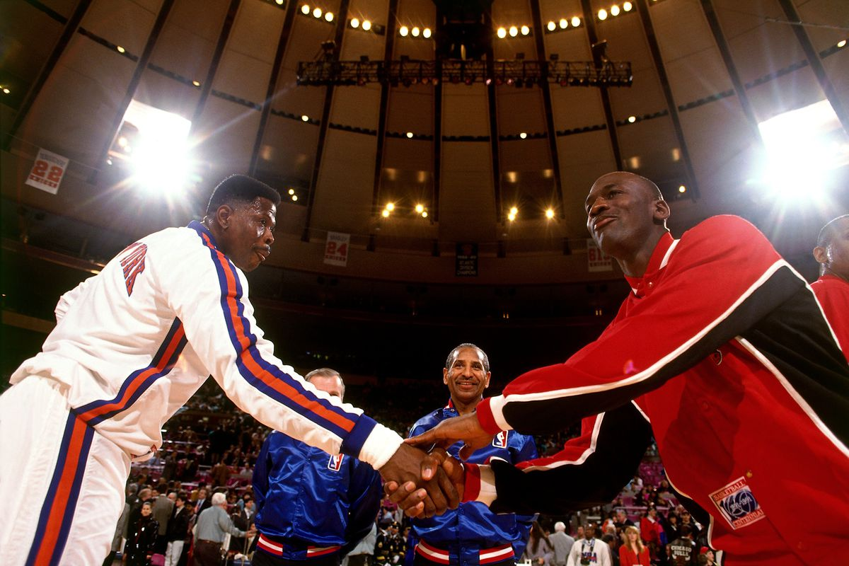 Patrick Ewing and Michael Jordan Pregame Portrait