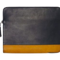 """<strong>Club Monaco</strong> Leather Zipped Portfolio in Navy/Yellow <a href=""""http://www.clubmonaco.com/product/index.jsp?productId=22869206"""">$149.50</a>"""