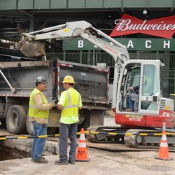 11:20 a.m. Excavation in front of the main bleacher gate -