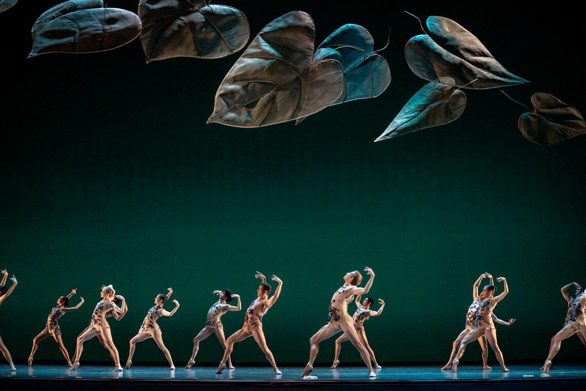 "The Joffrey Ballet ensemble dances ""Under the Trees' Voices"" at the Lyric Opera House."