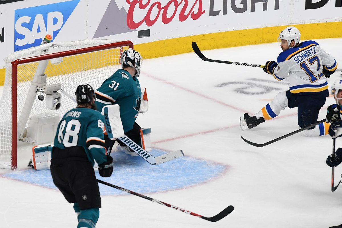 Jaden Schwartz #17 of the St. Louis Blues scores his third goal against the San Jose Sharks in Game Five of the Western Conference Final during the 2019 NHL Stanley Cup Playoffs at SAP Center on May 19, 2019 in San Jose, California.