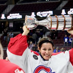 Charline Labonté joined the triple gold club (World Championships, Olympics, Clarkson Cup) with her first Cup win.