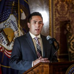 State Elections Director Mark Thomas discusses the special election timeline to replace 3rd District Rep. Jason Chaffetz, R-Utah, during a press conference in the Gold Room at the state Capitol in Salt Lake City on Friday, May 19, 2017.