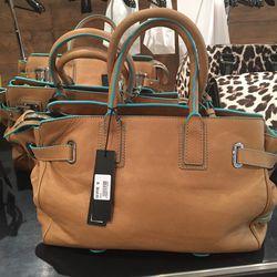 Brown leather bag, $223