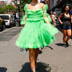 """May 26th: Rihanna wears the tulle """"Tinkerbell"""" dress by up-and-coming London designer Molly Goddard and pom-pom Aquazzura heels."""