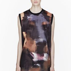 "<a href=""http://www.ssense.com/women/product/givenchy/black_doberman_print_tank_top/76438"">Givenchy black doberman print tank</a>, $216 (was $450)"