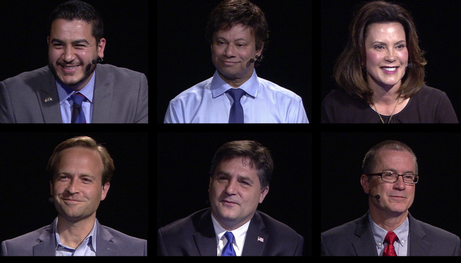 The winner of the gubernatorial election in November will have an outsized impact on Detroit's children. Top (L to R): Abdul El-Sayed, Shri Thanedar, Gretchen Whitmer. Bottom: Brian Calley, Patrick Colbeck, Jim Hines.