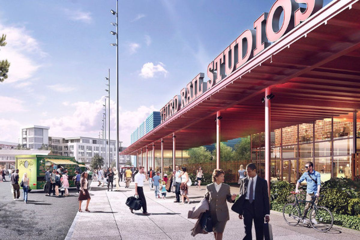 A rendering of Doraville's Assembly project, with the completed Third Rail Studios at right.