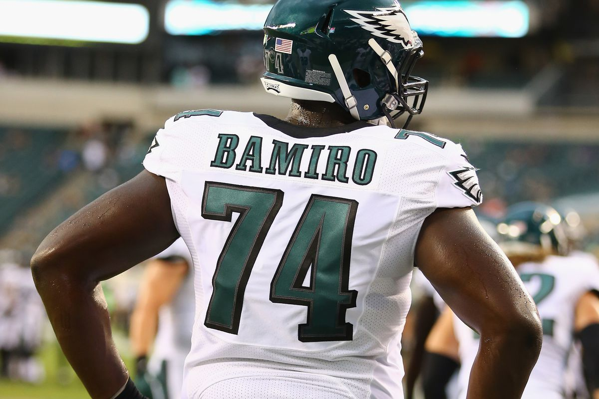 Michael Bamiro with the Eagles during the 2014 preseason