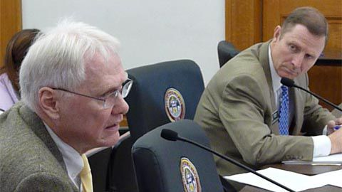 Former education Commissioner William Moloney spoke in favor of private school tuition tax credits while bill sponsor Rep. Spencer Swalm, R-Centennial, listened.