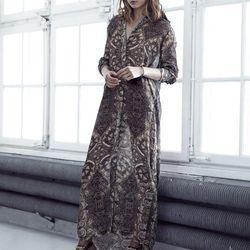Long and sheer shirt dress, $149; embellished mules, $149
