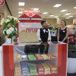A popcorn and candy station.
