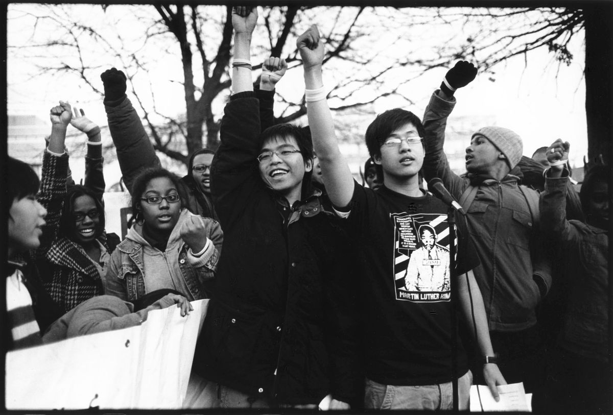 Students protesting in the wake of anti-Asian attacks at South Philadelphia High School in 2009.