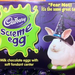 Cadbury Screme Egg with the cutest bunny in a witch's hat you've ever seen.