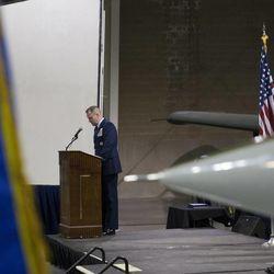 Brig. Gen. Carl Buhler speaks during a change of command ceremony at Hill Aerospace Museum, Monday, Sept. 8, 2014. Buhler assumed command of the Ogden Air Logistics Complex from Maj. Gen. H. Brent Baker Sr.