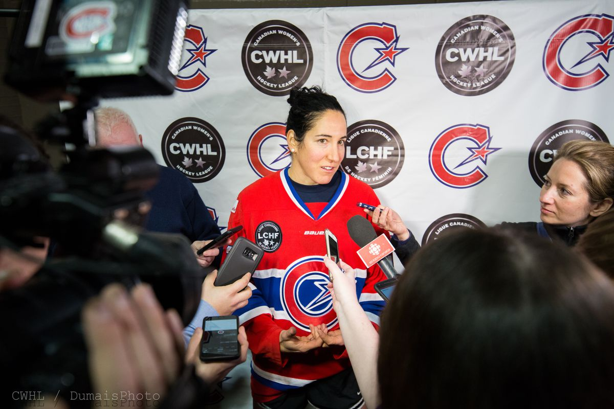 Caroline Ouellette meets the press after becoming the first player in CWHL history to break the 300 point mark.