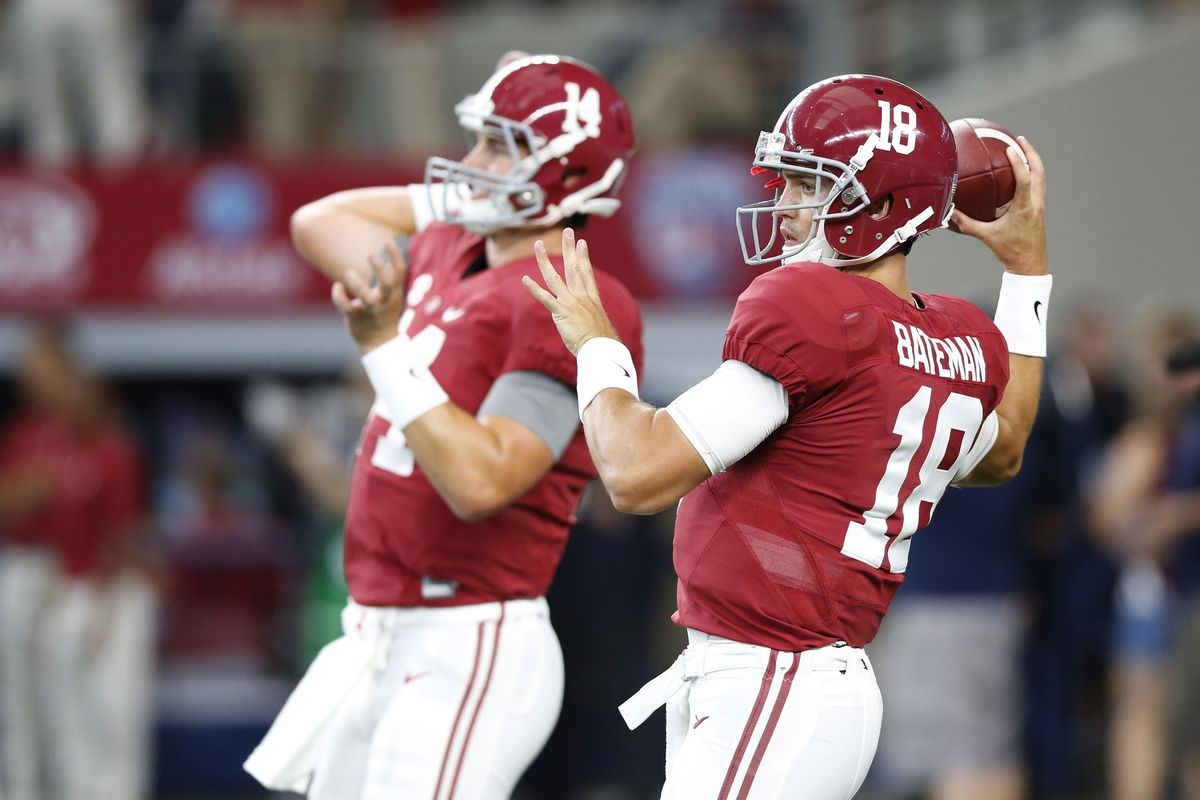 We'll likely see both these QBs today: Jake Coker, Cooper Bateman.