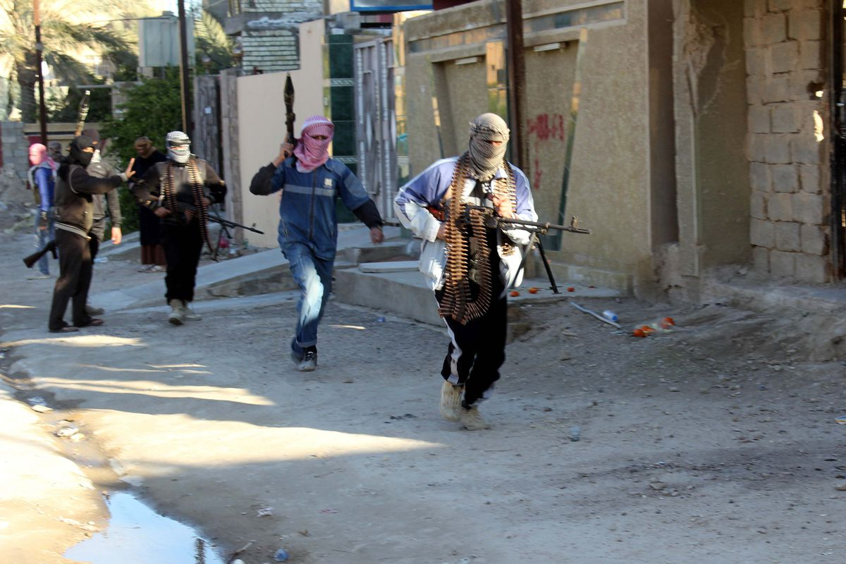 ISIS fighters in Kirkuk, Iraq, in February 2014.