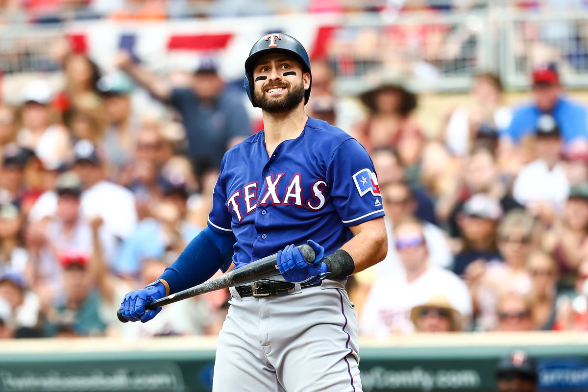 Texas Rangers center fielder Joey Gallo reacts after striking out in the third inning against the Minnesota Twins at Target Field.