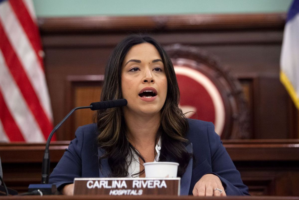 Councilmember Carlina Rivera (D-Manhattan) speaks at a hearing on ICE raids in the city.