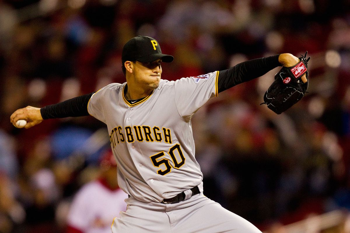 ST. LOUIS, MO - APRIL 4: Starter Charlie Morton #50 of the Pittsburgh Pirates pitches against the St. Louis Cardinals at Busch Stadium on April 4, 2011 in St. Louis, Missouri.  (Photo by Dilip Vishwanat/Getty Images)