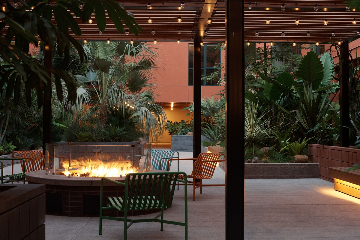 Outdoor seating with twinkle lights
